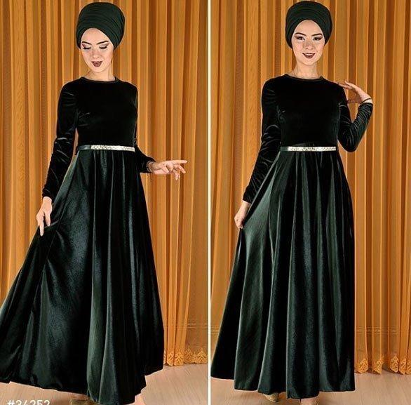 gelmiş geçmiş en güzel 85 tesettür abiye elbise modeli 28