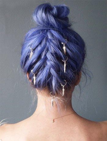 saç küpesi ile örgü saç modelleri 1