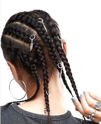 saç küpesi ile örgü saç modelleri 2