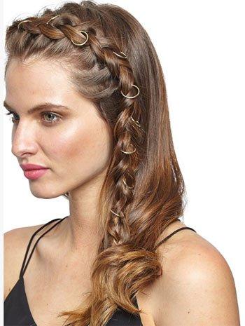 saç küpesi ile örgü saç modelleri 5