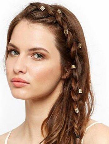 saç küpesi ile örgü saç modelleri 7