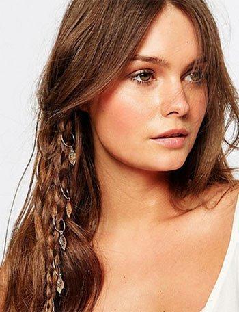saç küpesi ile örgü saç modelleri 9