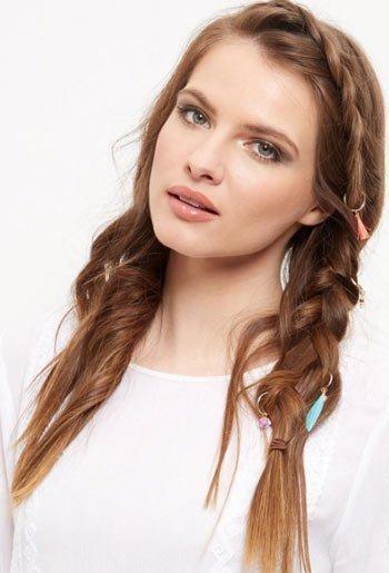 saç küpesi ile örgü saç modelleri 10