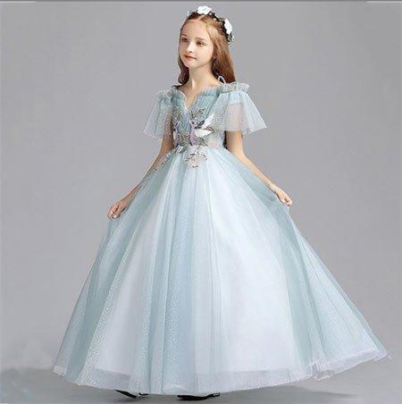 6-10 yaş kız gelinlik ve tül abiye modelleri 8