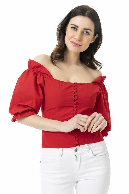 omuz dekolteli bluz kombinleri 8