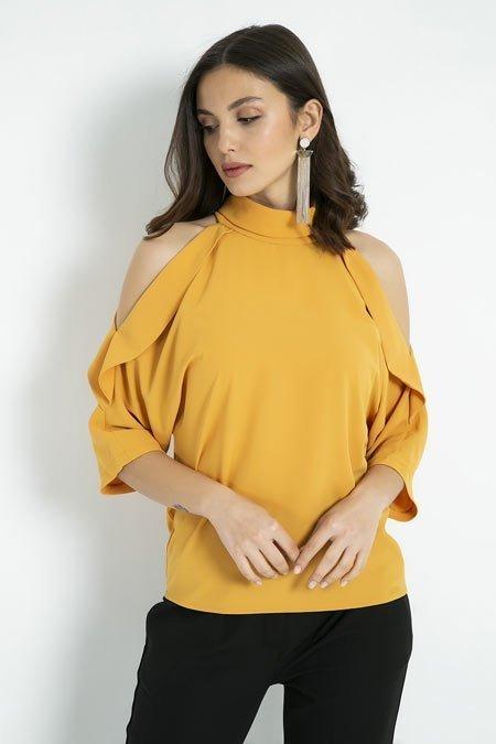 omuz dekolteli bluz kombinleri 2