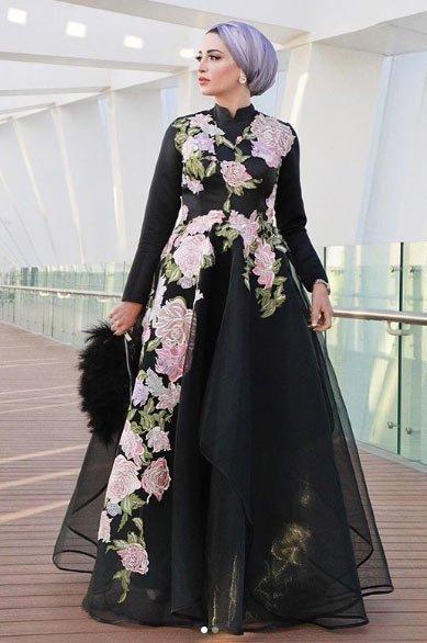 gelmiş geçmiş en güzel 85 tesettür abiye elbise modeli 23