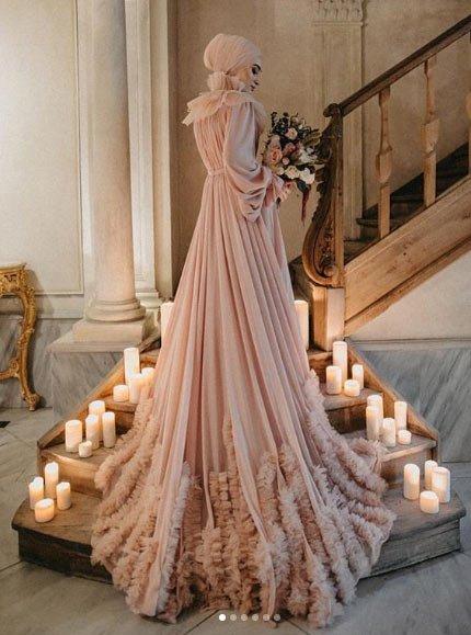 gelmiş geçmiş en güzel 85 tesettür abiye elbise modeli 13