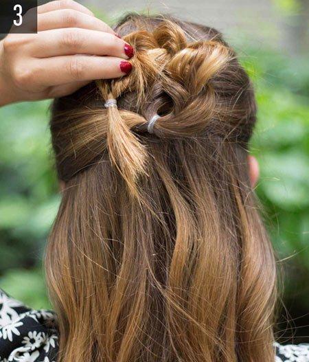 çiçek örgü saç yapımı 3