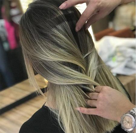 kumral saç üzerine sarı balyaj modelleri ve uygulama yöntemi 1