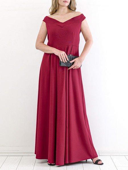 Atlak Yaka Bordo Uzun Büyük Beden Elbise modeli
