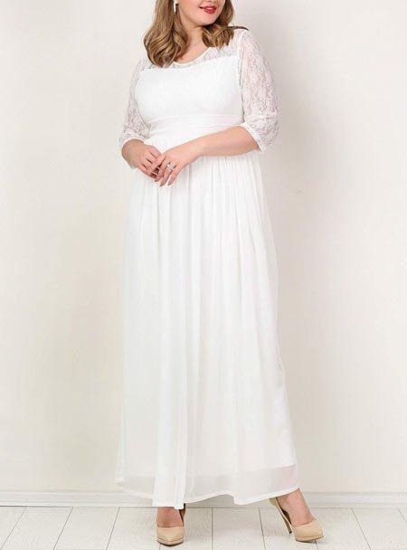 Büyük beden uzun beyaz elbise