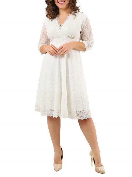 Büyük beden beyaz şifon elbise