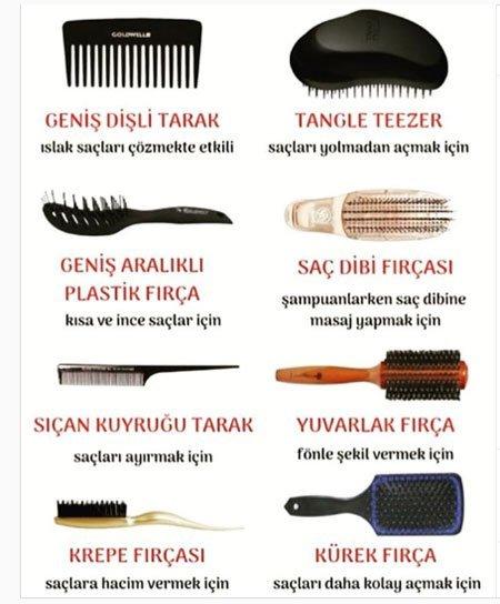 saç fırçaları kullanım alanları