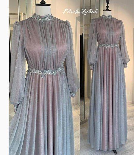 gelmiş geçmiş en güzel 85 tesettür abiye elbise modeli 3
