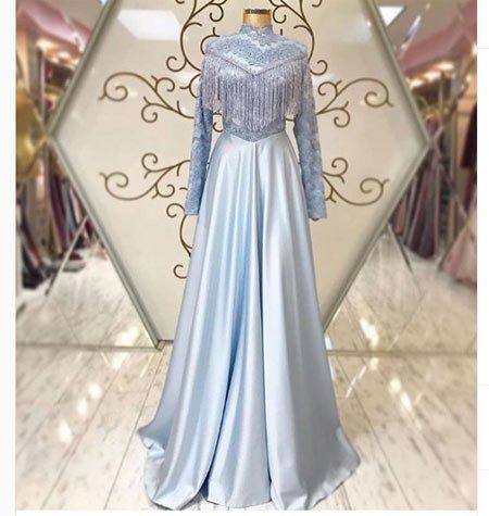 gelmiş geçmiş en güzel 85 tesettür abiye elbise modeli 7