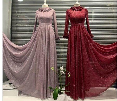 gelmiş geçmiş en güzel 85 tesettür abiye elbise modeli 10