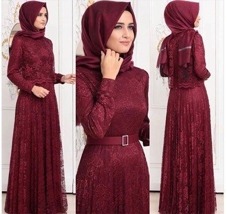 gelmiş geçmiş en güzel 85 tesettür abiye elbise modeli 12