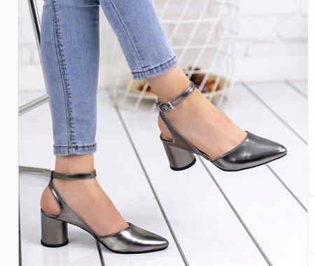 Gümüş rengi dolgu topuk ayakkabı
