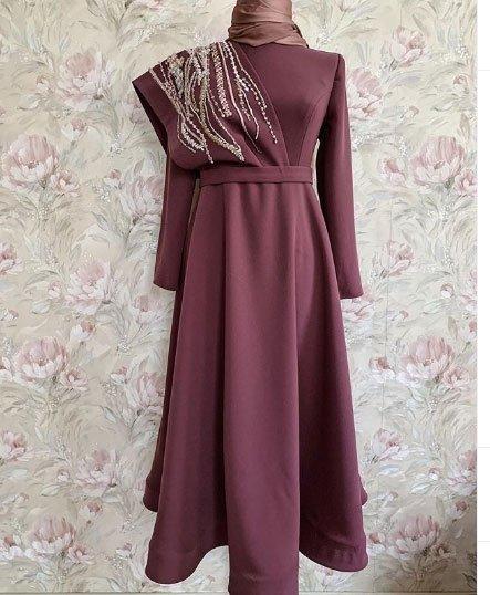 gelmiş geçmiş en güzel 85 tesettür abiye elbise modeli 4