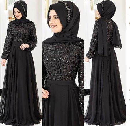 gelmiş geçmiş en güzel 85 tesettür abiye elbise modeli 5